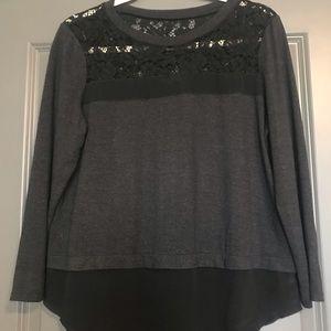 Rebecca Taylor Lace Jersey Knit Top